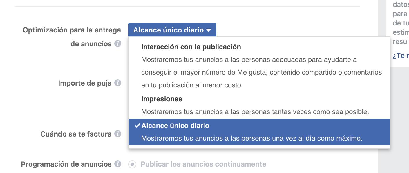 optimizar tus anuncios en Facebook- alcance unico diario