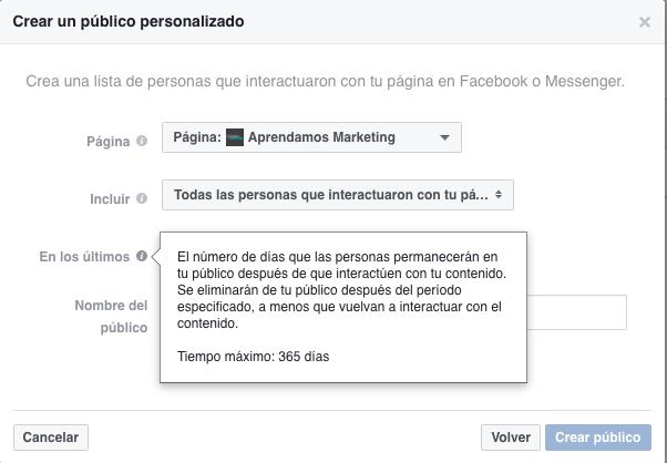 Públicos Personalizados basados en interacción - Duración del público