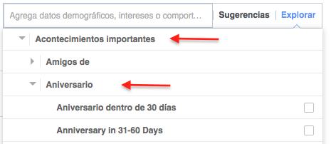 Acontecimientos importantes para segmentar anuncios en facebook para SPAS