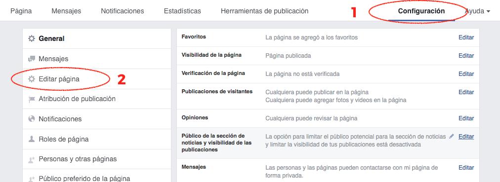 Editar tu página de facebook nuevas plantillas