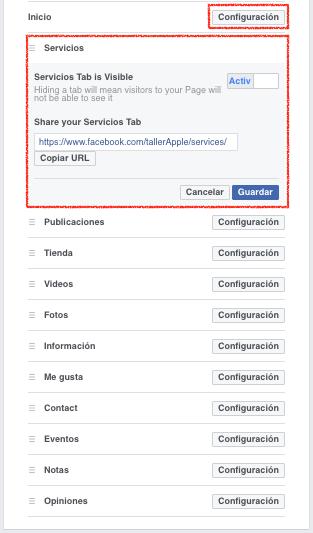 configuracion de pestañas página de facebook-