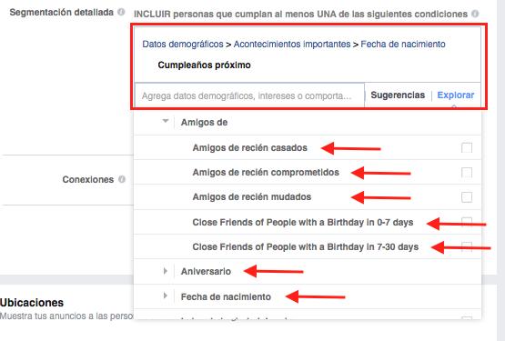 segmentacion detallada anuncios facebook para SPAs