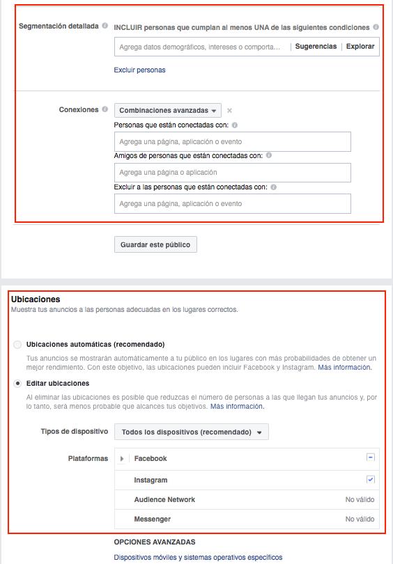 opciones avanzadas de segmentación en facebook