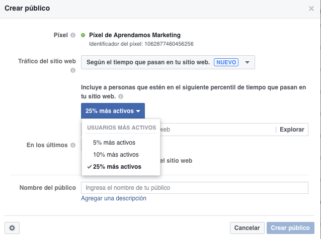 Audiencias en Facebook según el tiempo que pasan en tu sitio Web