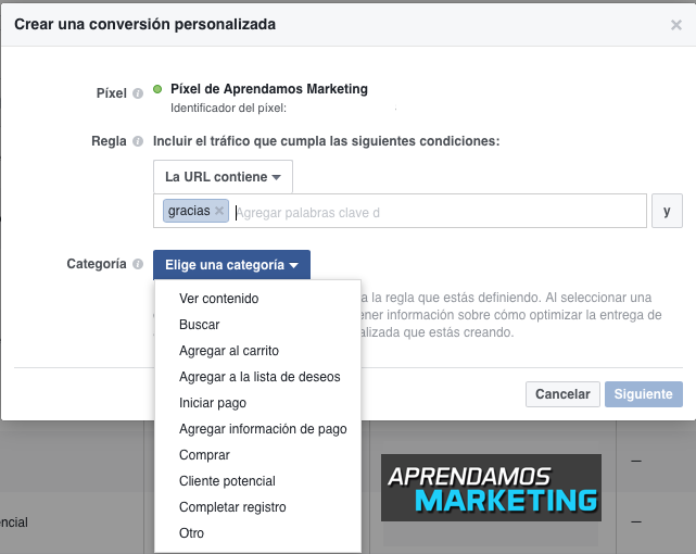 Conversión personalizada con tu Pixel de Facebook - AM
