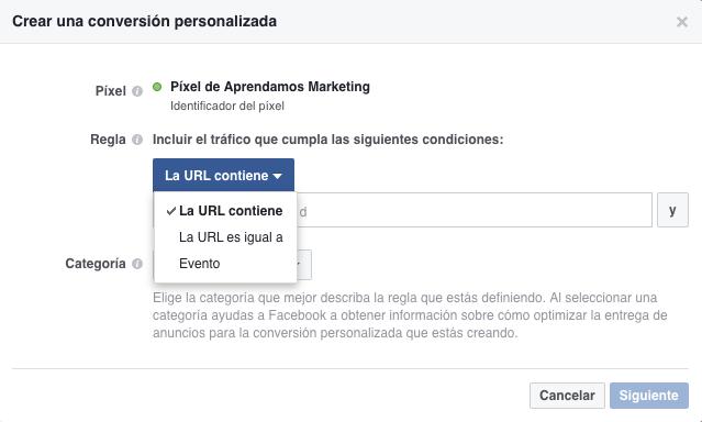Crear una conversión personalizada con el Pixel de Facebook