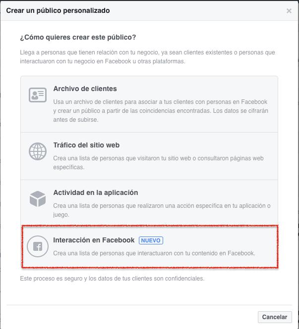 Listas de publicos personalizados en Facebook Paso 2