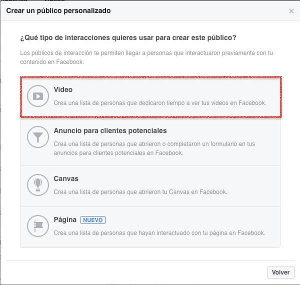 Listas de publicos personalizados en Facebook interacción con videos