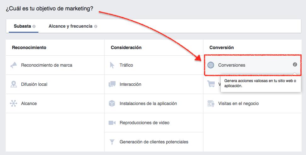 Objetivos de campañas en Facebook - Optimización.