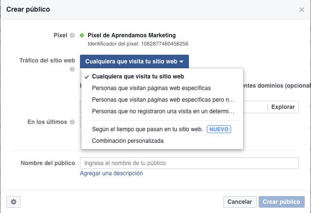 Opciones para retargeting usando el Pixel de Facebook