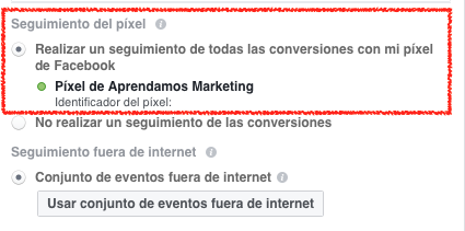 Seguimiento de conversiones con el Pixel de Facebook