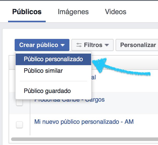 crear público personalizado en Facebook.