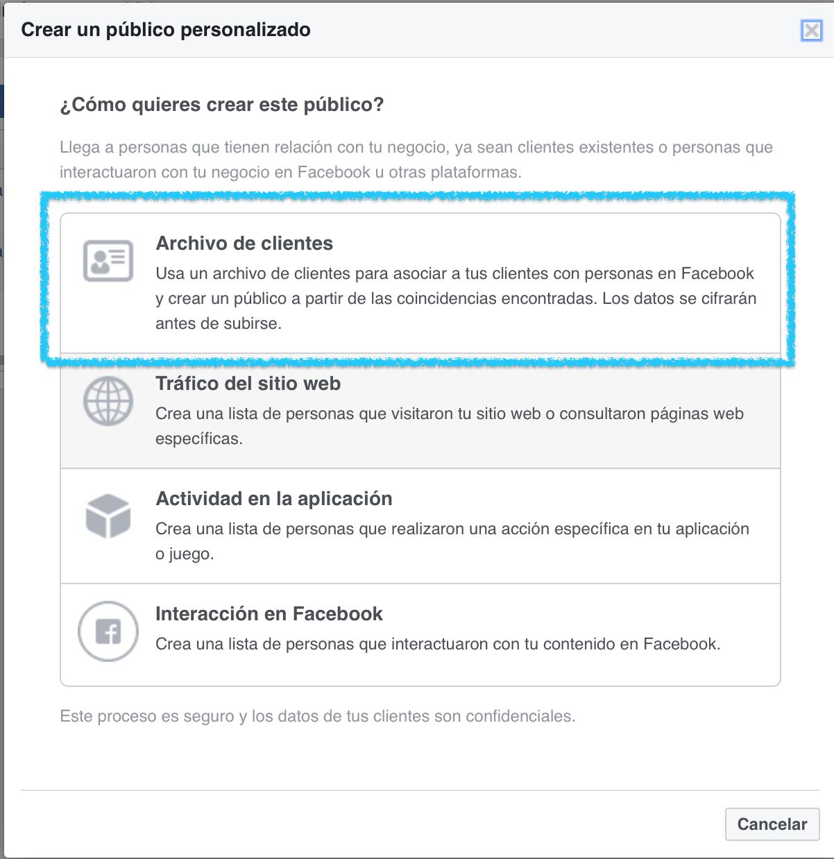Creando publico personalizado desde tu lista de suscriptores 3 - Trucos para anuncios en Facebook