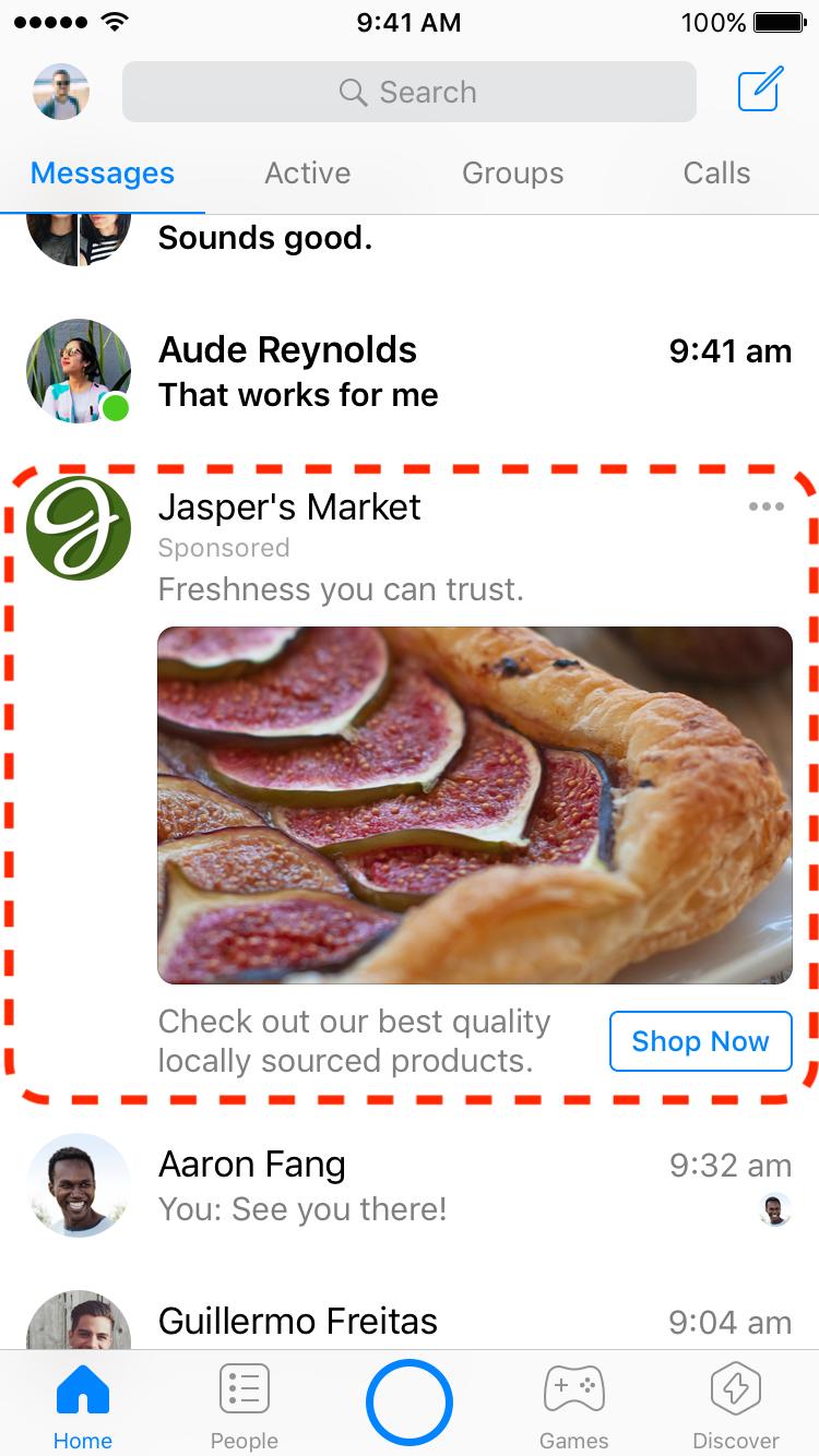 Pantalla de inicio de messenger como ubicación de anuncios.