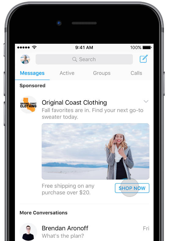 Anuncios en la pantalla de inicio en Messenger .