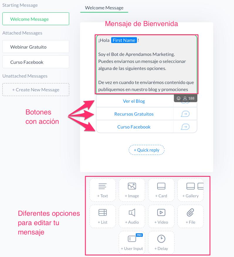 Editando_tu_mensaje_de_bienvenida_en_ManyChat_-_Aprendamos_Marketing