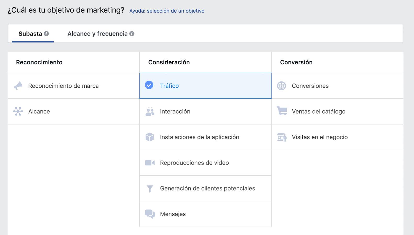 define el objetivo de tu campaña en el administrador comercial de Facebook