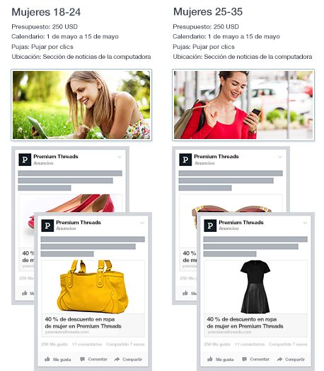estructurar Campañas altamente efectivas en Facebook - puedes probar tus diferentes públicos