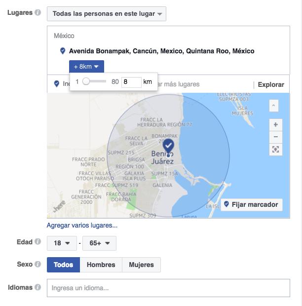 radio de alcance de tus anuncios para llegar a personas cercanas a tu negocio con facebook.