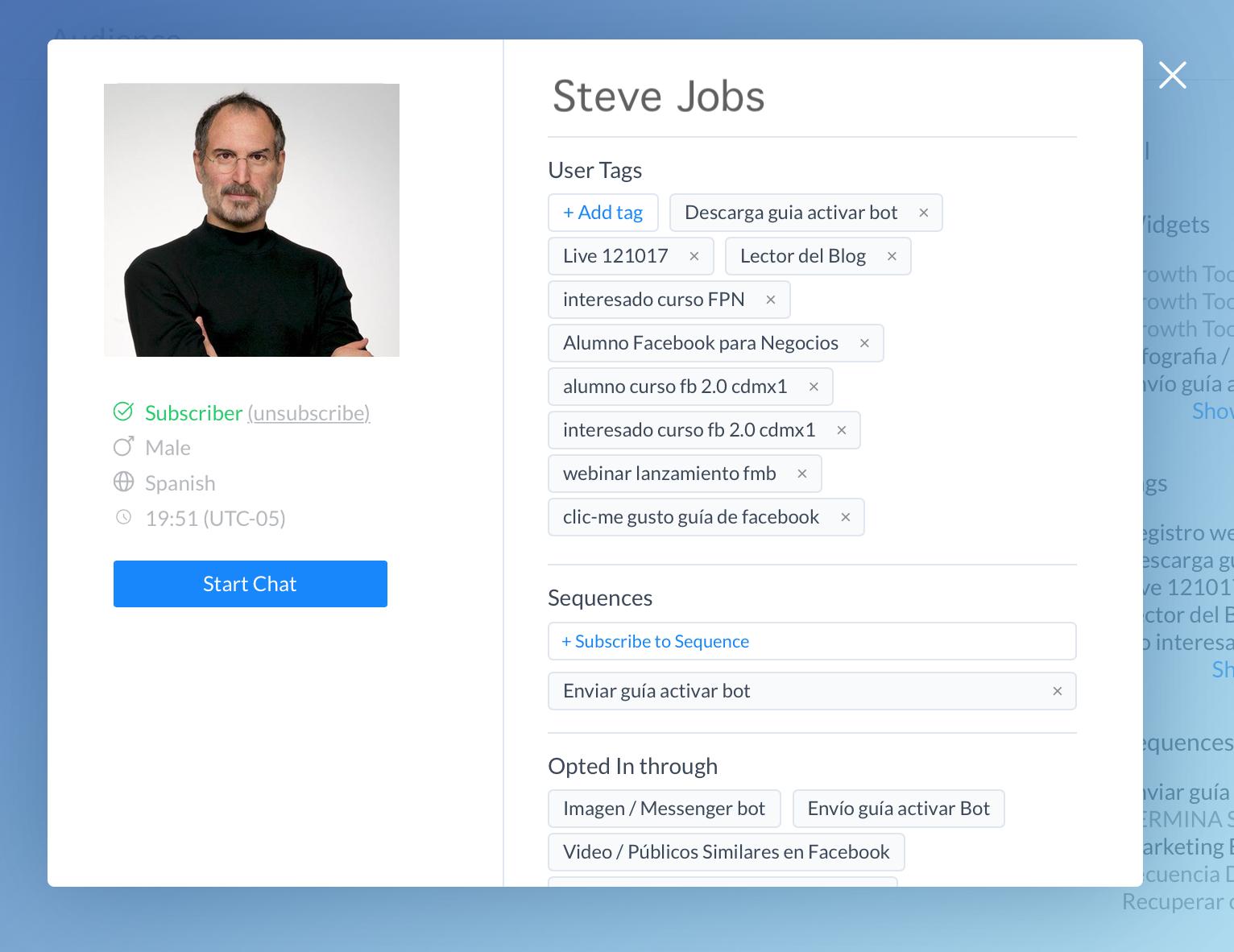 Sistema de etiquetas para crear mensajes automatizados en Messenger