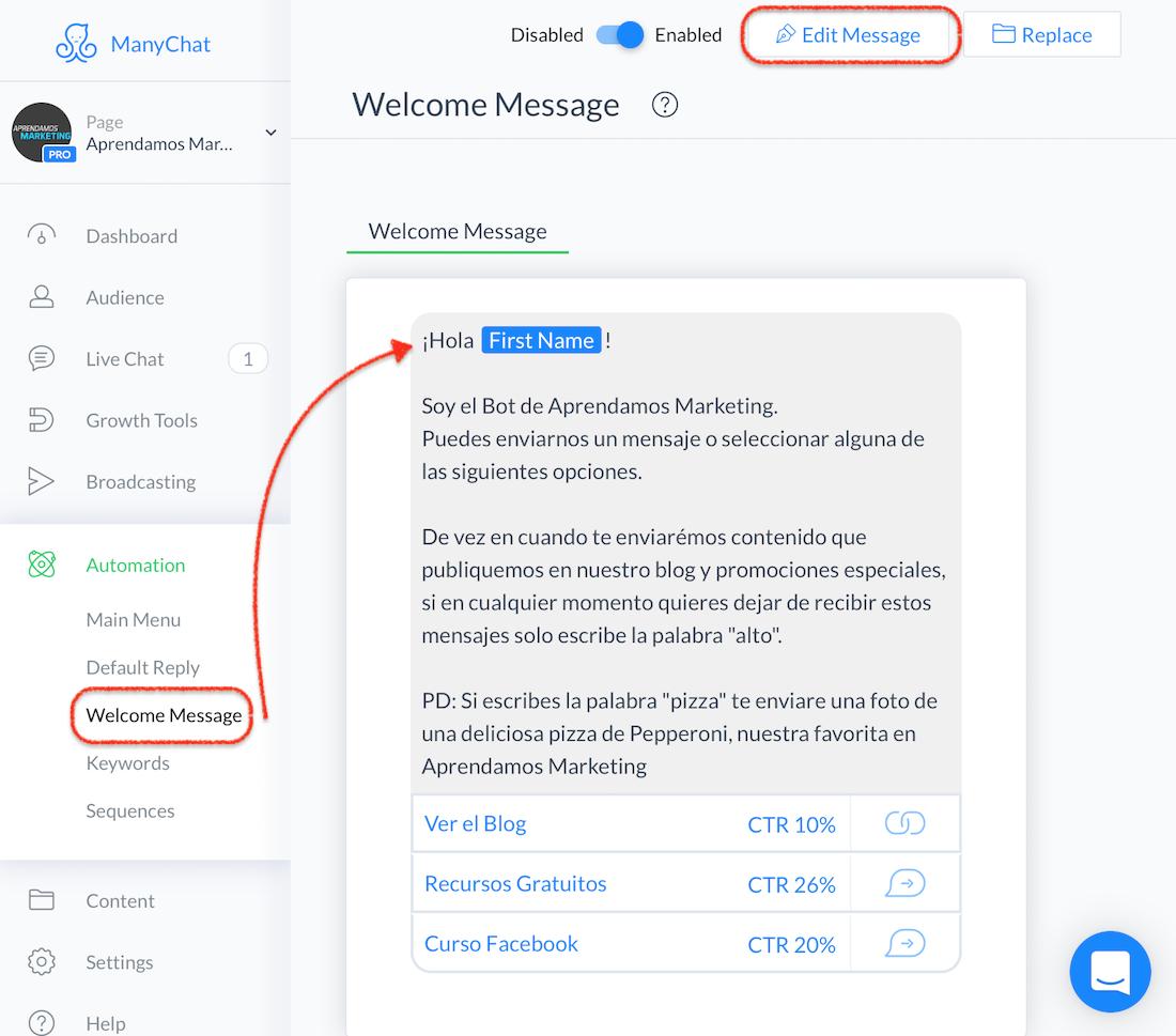 crear mensajes automatizados en Messenger - crear mensaje de bienvenida