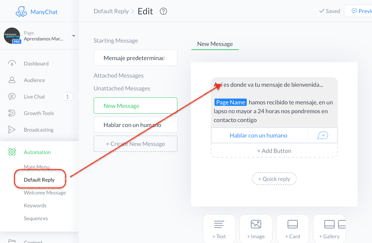 crear mensajes automatizados en Messenger - crear mensaje predeterminado