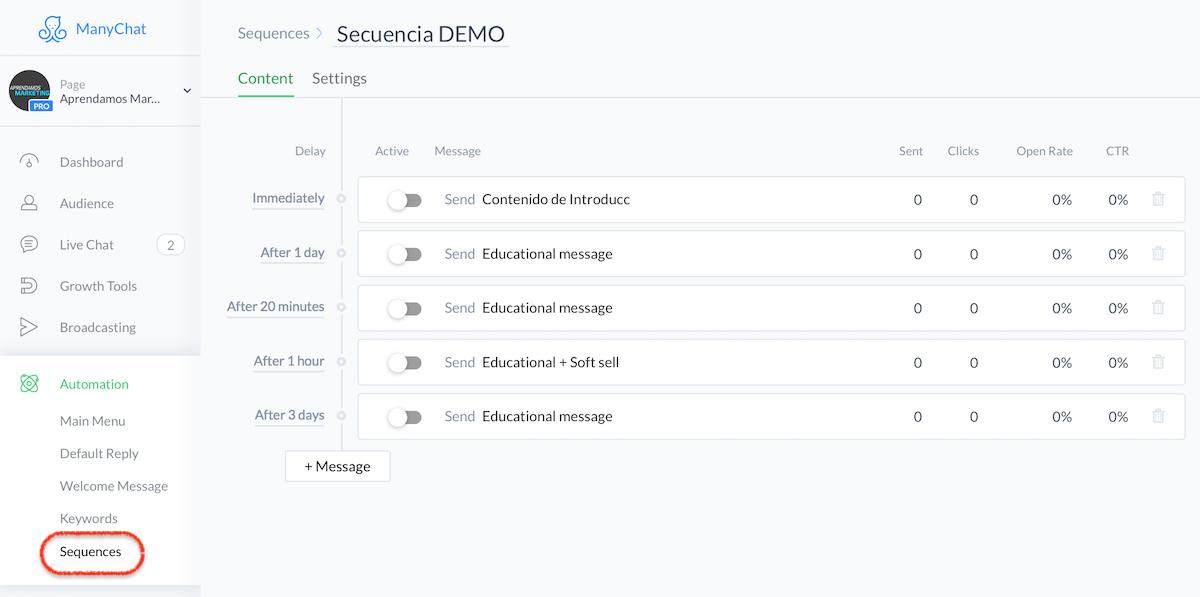 crear mensajes automatizados en Messenger - secuencias automatizadas