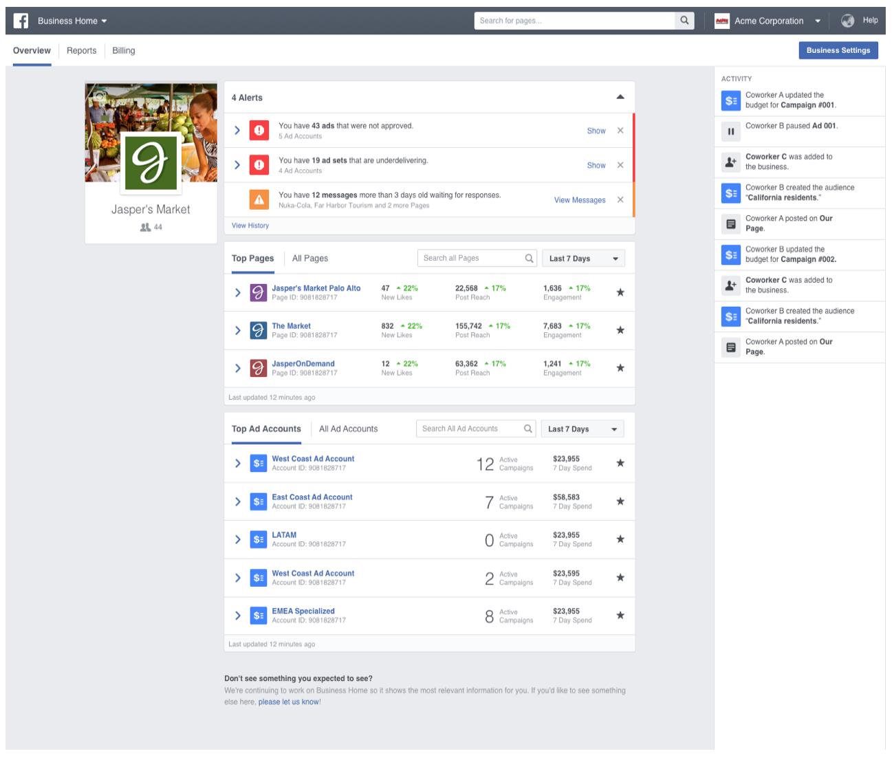 Administrador-comercial-de-facebook-tablero-principal