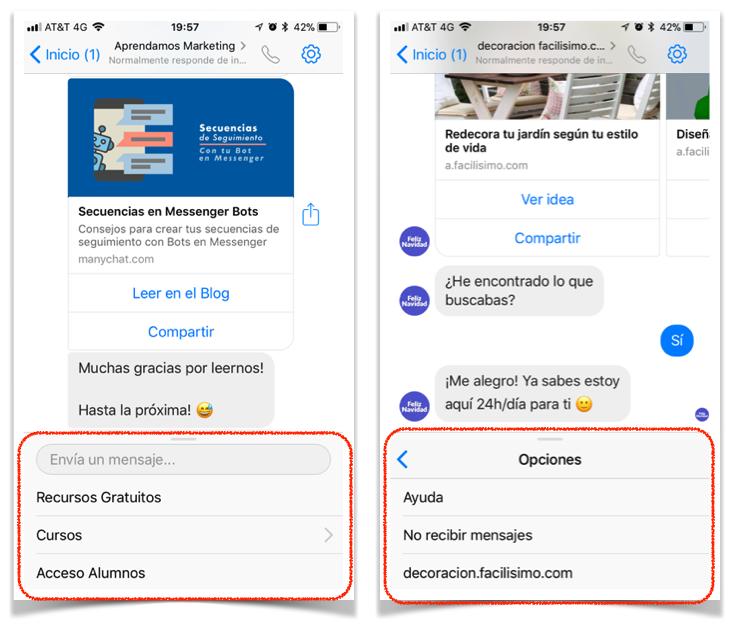 5 formas de usar un ChatBot en tu negocio - menu de servicio al cliente y preguntas frecuentes