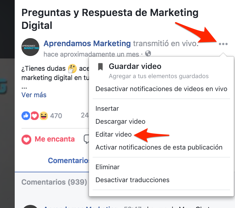 Usando Facebook live en tu negocio - editar video