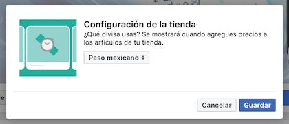 Configuración de la divisa al crear tu tienda en facebook