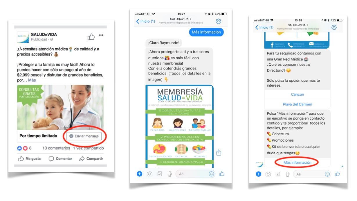 Flujo para Chat en Vivo - Estrategias para captar prospectos con un chatbot en Messenger