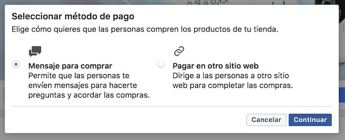 Seleccionar el método de pago al crear tu tienda en Facebook