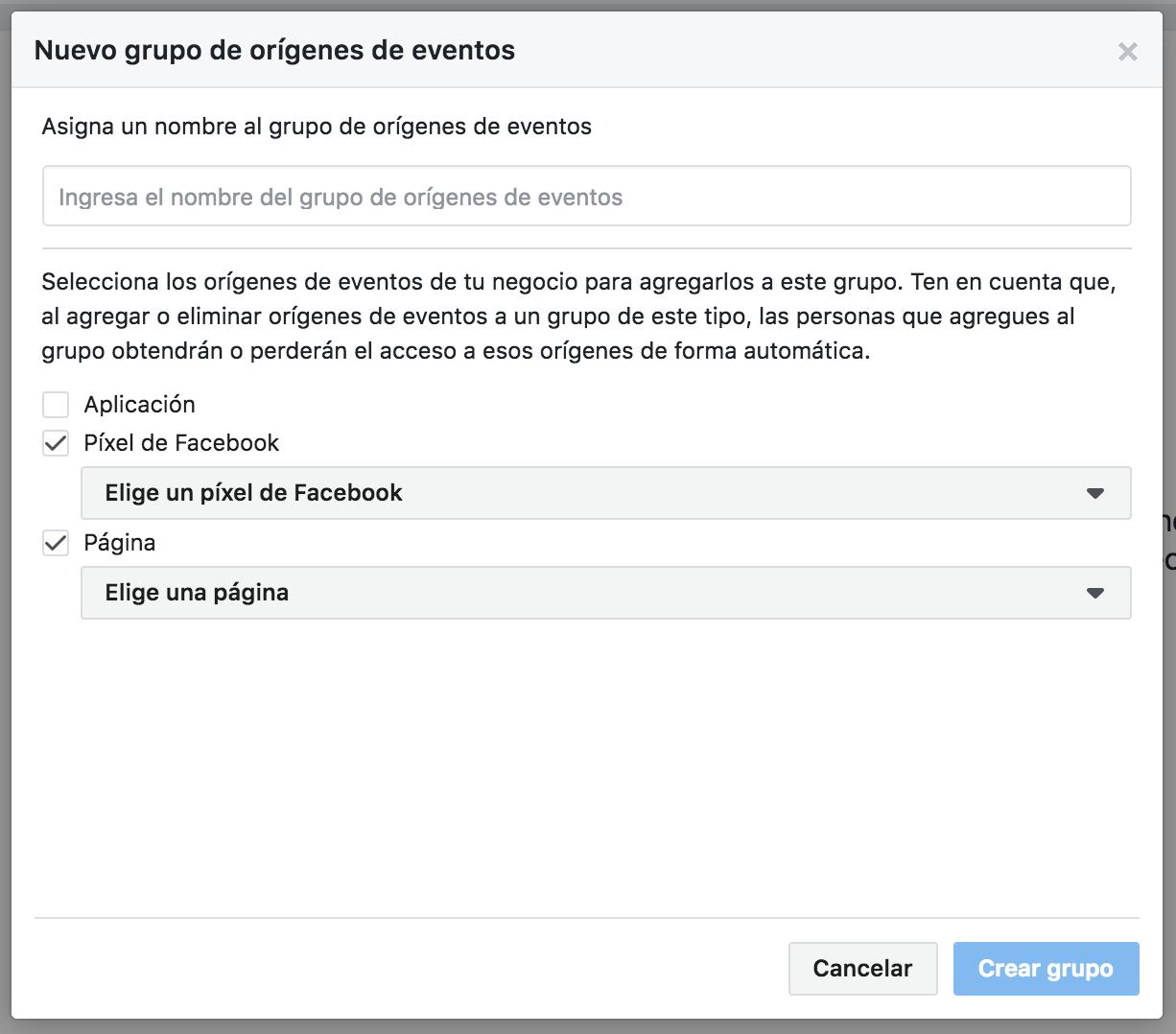 Crear un nuevo Grupo de Orígenes de Eventos en facebook