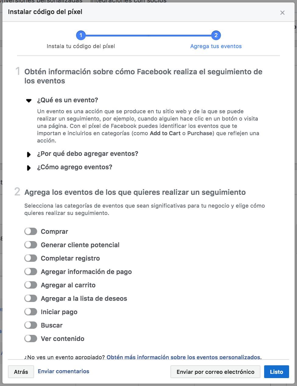 Tipos de eventos que se pueden configurar en Facebook Analytics