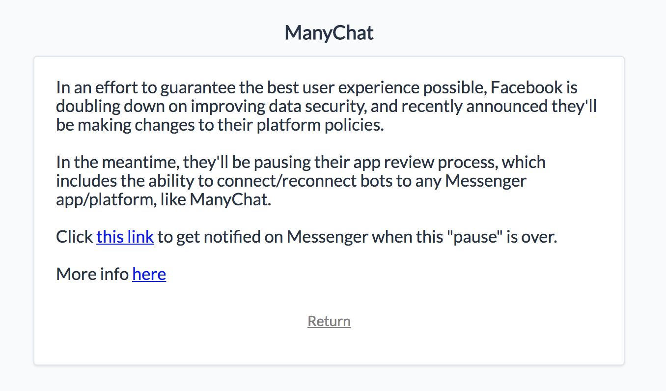 Conexión de chatbots pausada por el tema Cambridge Analytica