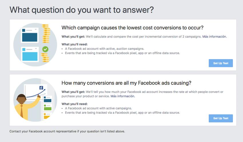 Las 2 preguntas de Pruebas y Resultados de Facebook.