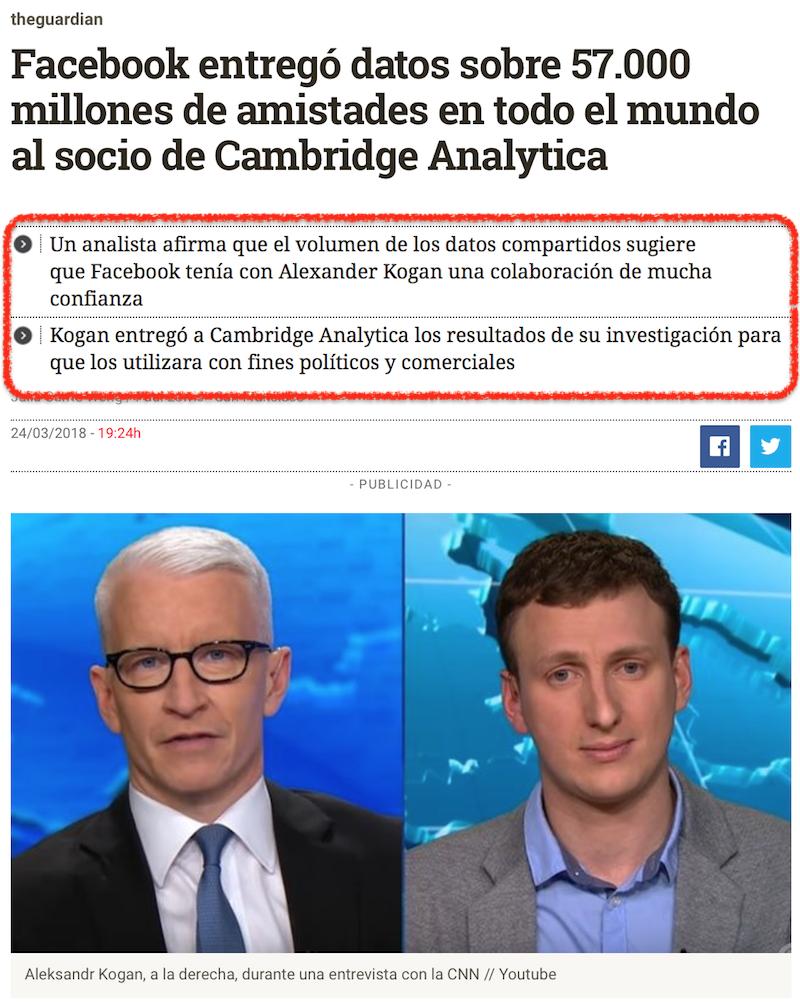 Noticias falsas respecto a Cambridge Analytica
