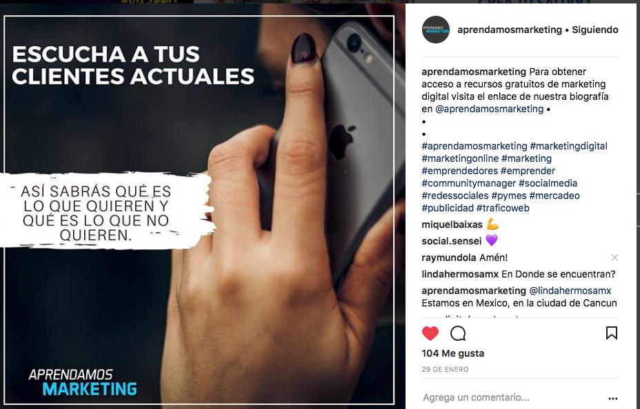 Ejemplo de publicación para generar tráfico orgánico con instagram