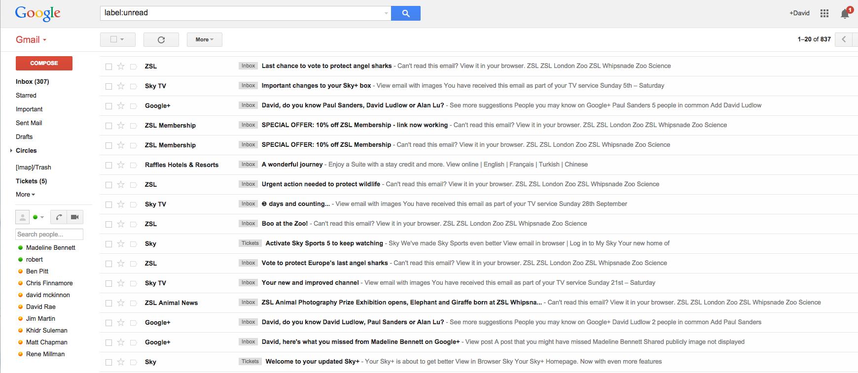 Una bandeja de entrada llena de correos - Marketing en Facebook Messenger