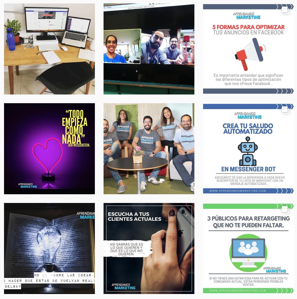 ejemplos de publicaciones para generar tráfico orgánico con Instagram
